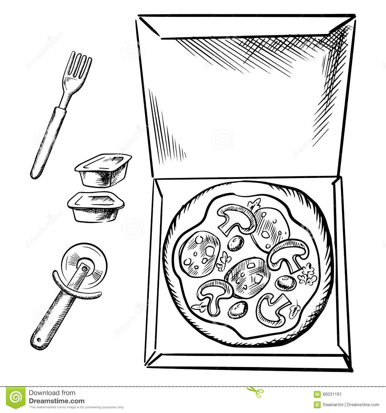Pizza Box Sauce Cups Fork And Cutter Sketch Stock Vector