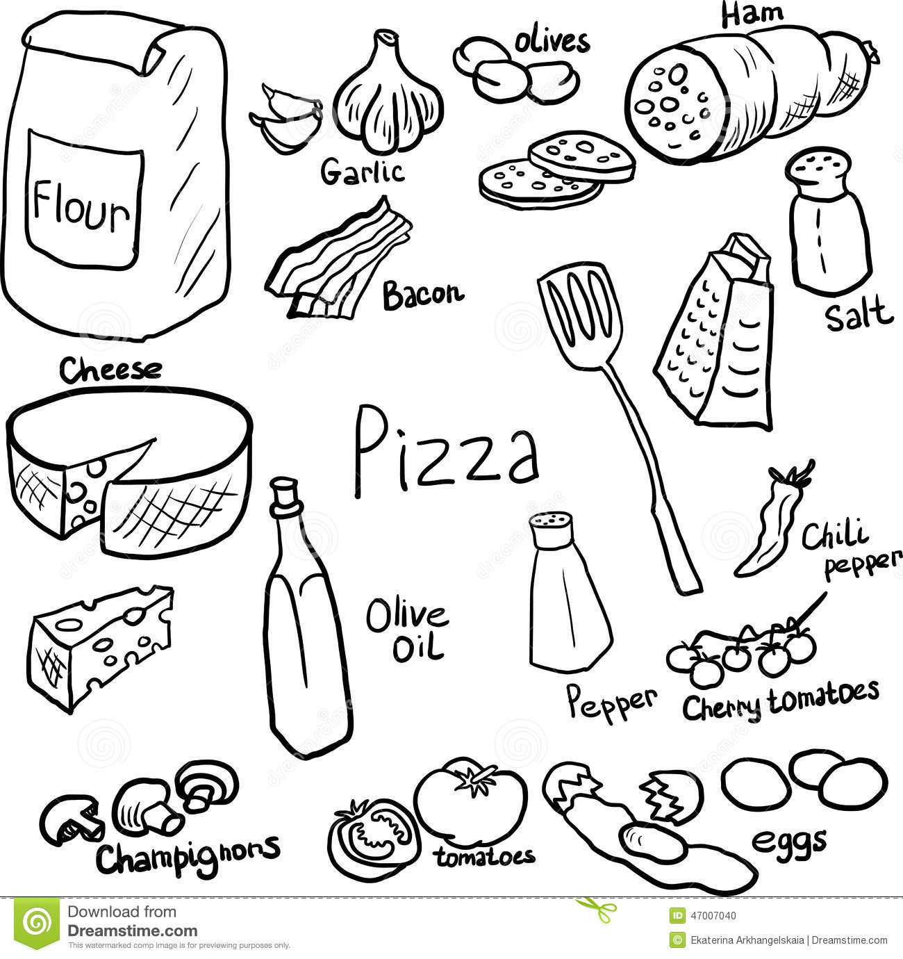 Pizza Doodle Set Stock Vector Image Of Component