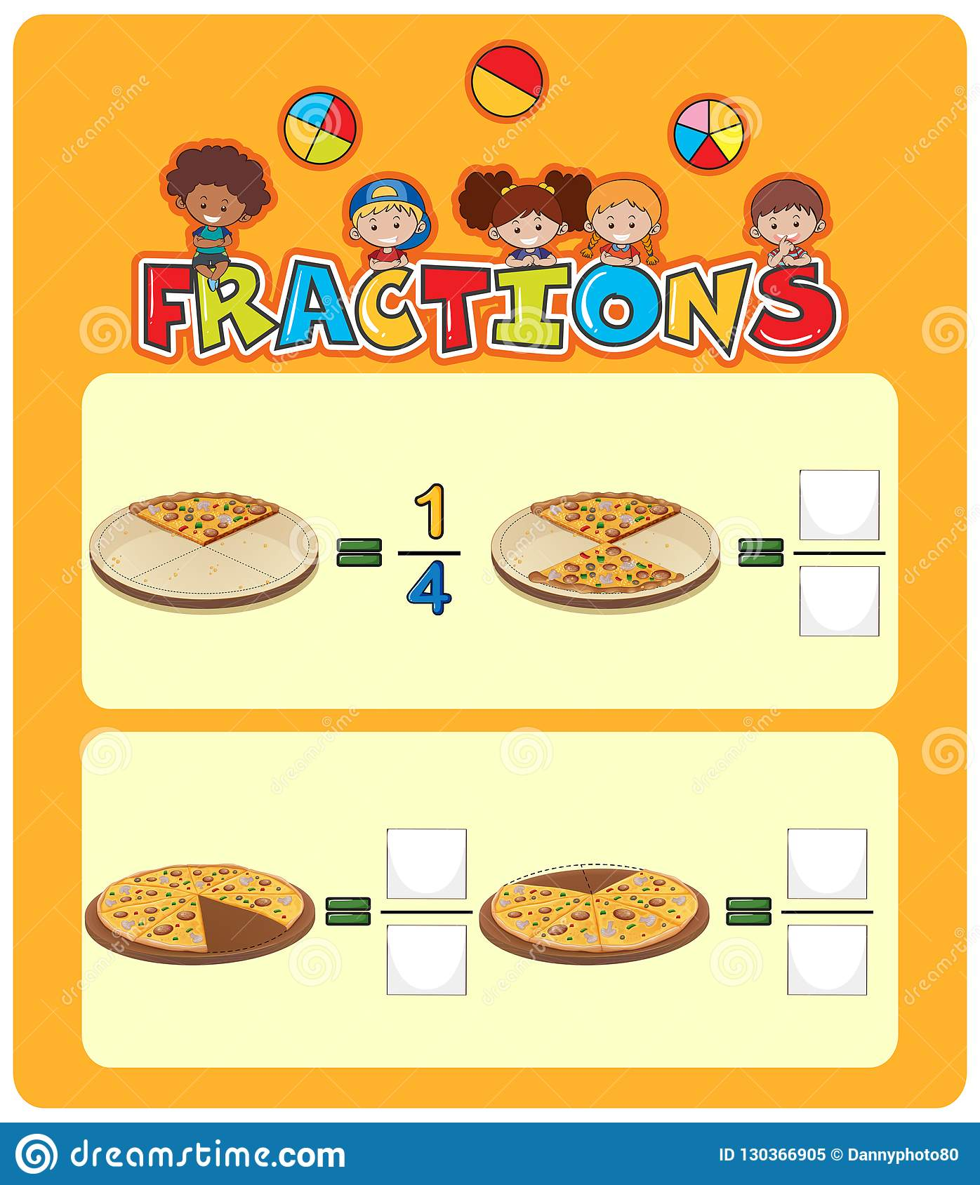 Pizza Fractions Math Worksheet Stock Vector