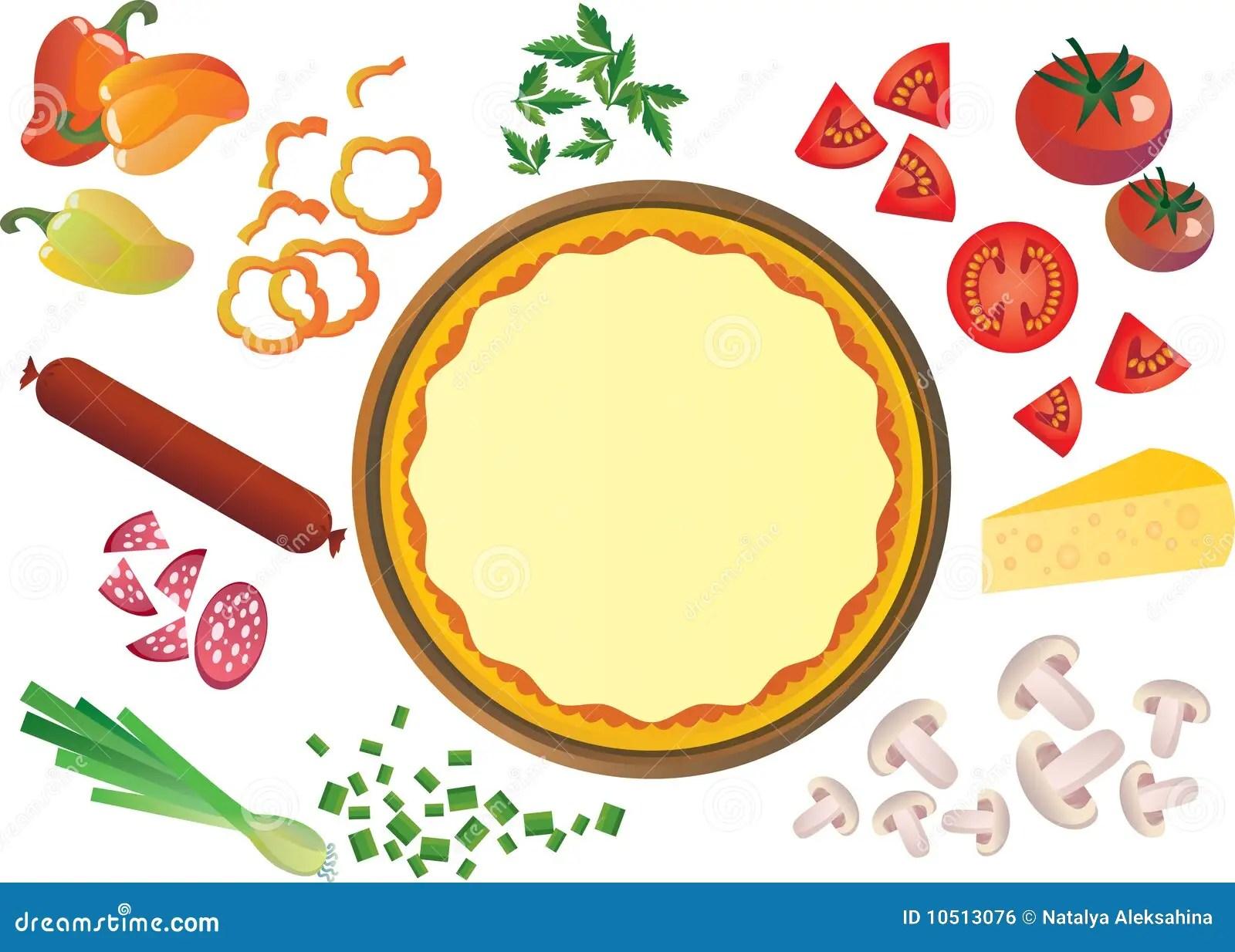 Pizza Ingre Nts Stock Vector Illustration Of Crumbs