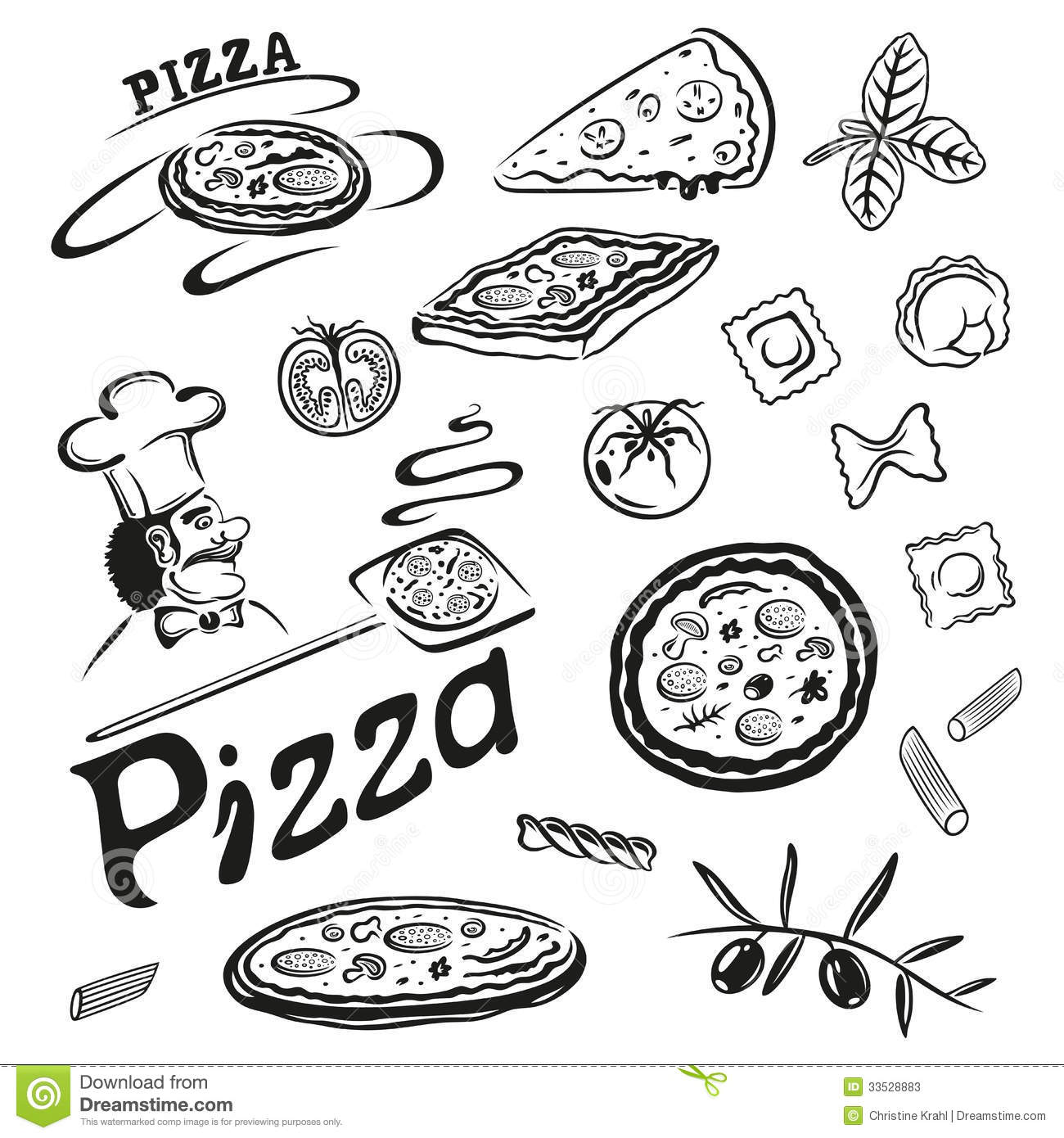 Pizza Pasta Stock Vector Illustration Of Kitchen