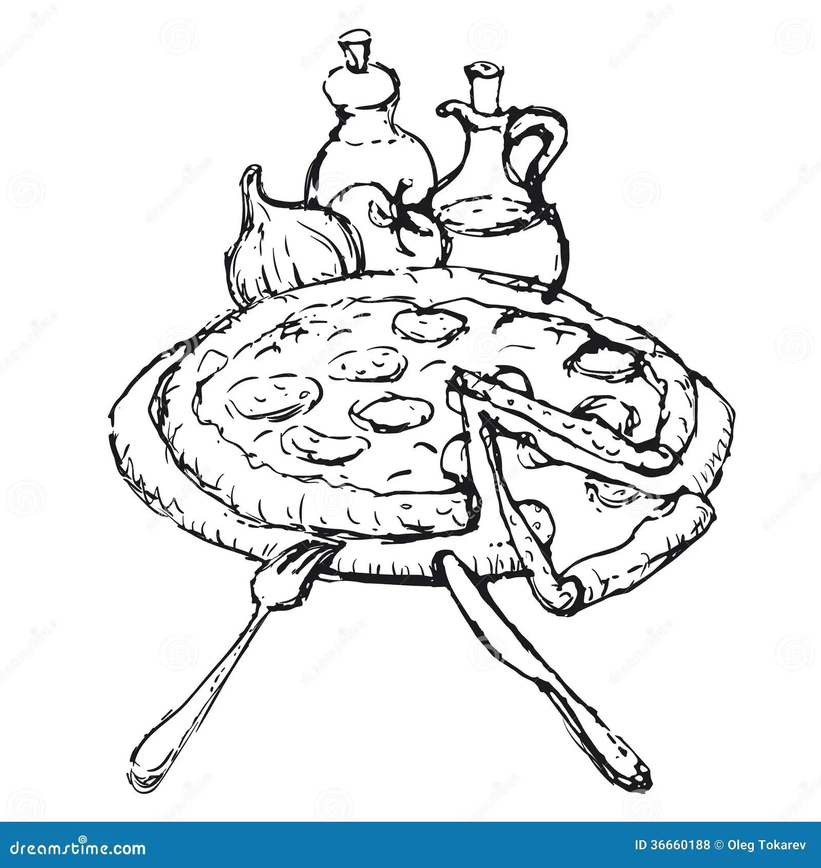 Pizza Sketch Stock Illustration Illustration Of Salami