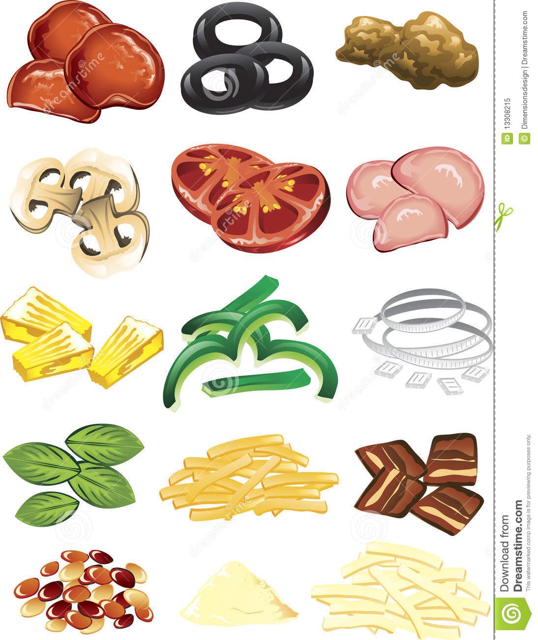 Pizza Toppings Stock Vector Illustration Of Tomato Beef