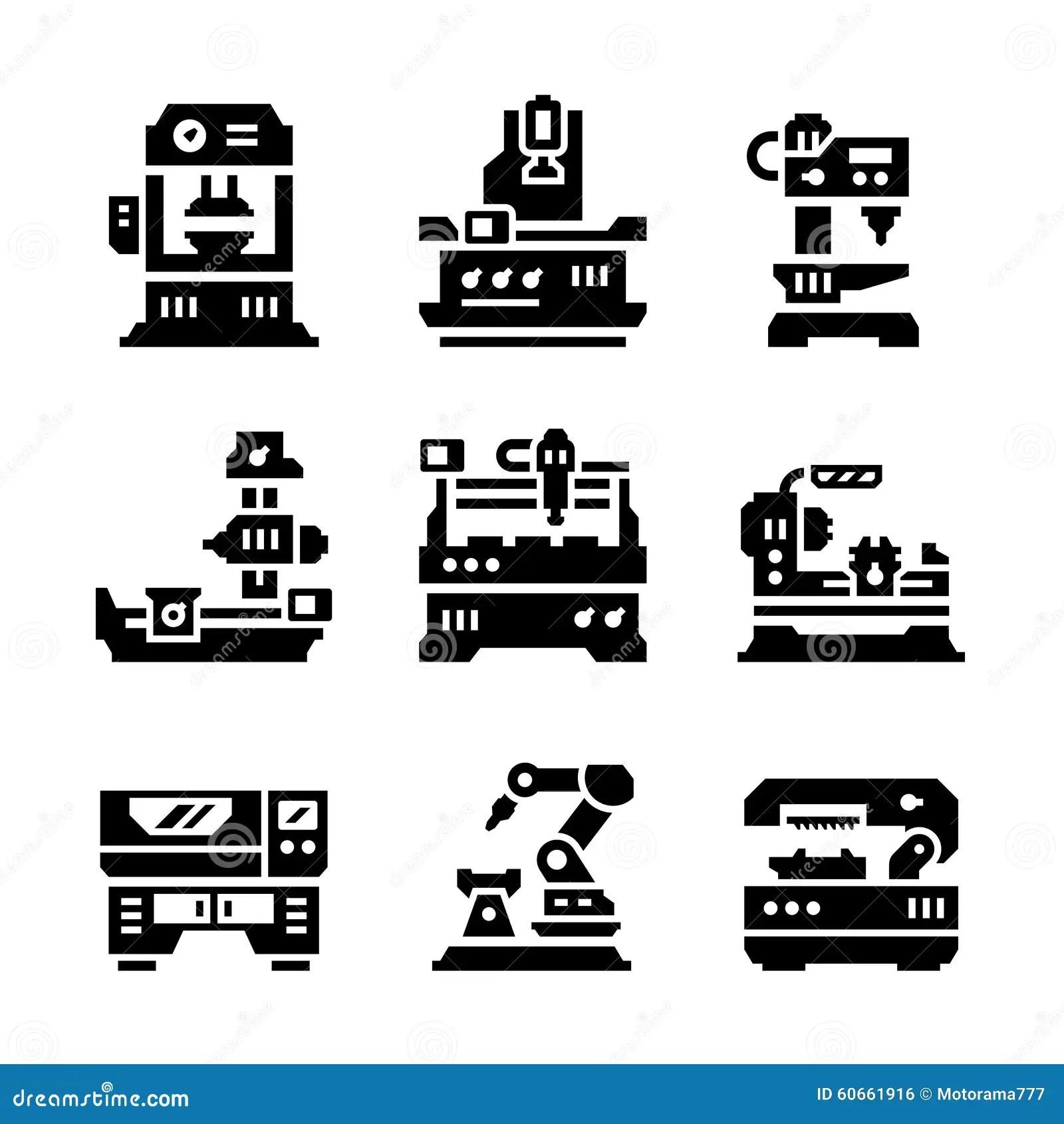 Placez Les Icones De La Machine Outil Illustration De