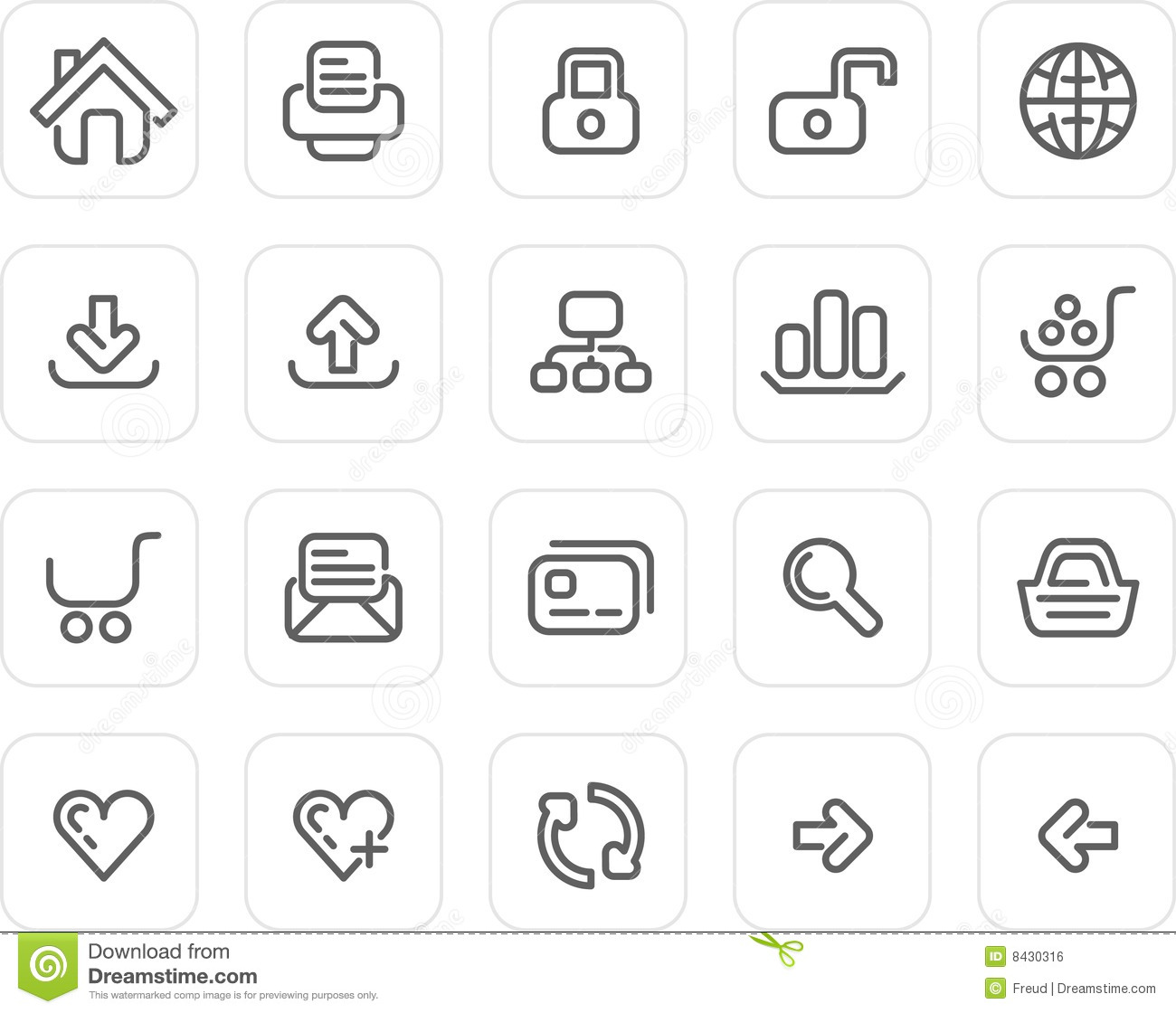Plain Icon Set Website And Internet Stock Vector