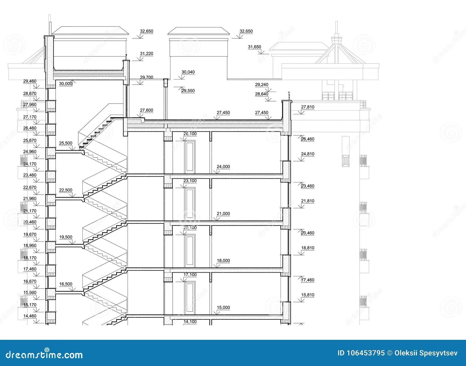 Plan Architectural Detaille Du Batiment A Plusiers Etages
