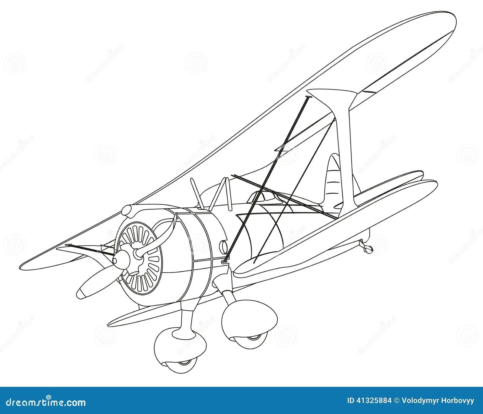 Small Private Airplane Vector Sketch Illustration Clip Art