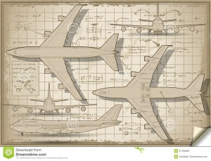 Plane Project In Five Orthogonal Views Stock Photos
