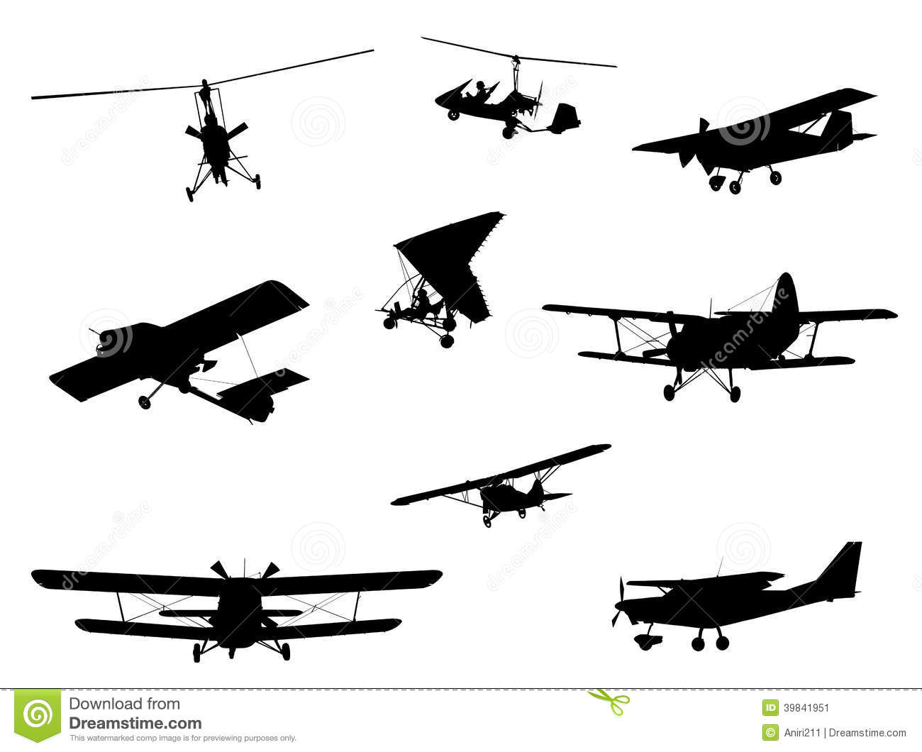 Planes Silhouette Set Stock Illustration Illustration Of