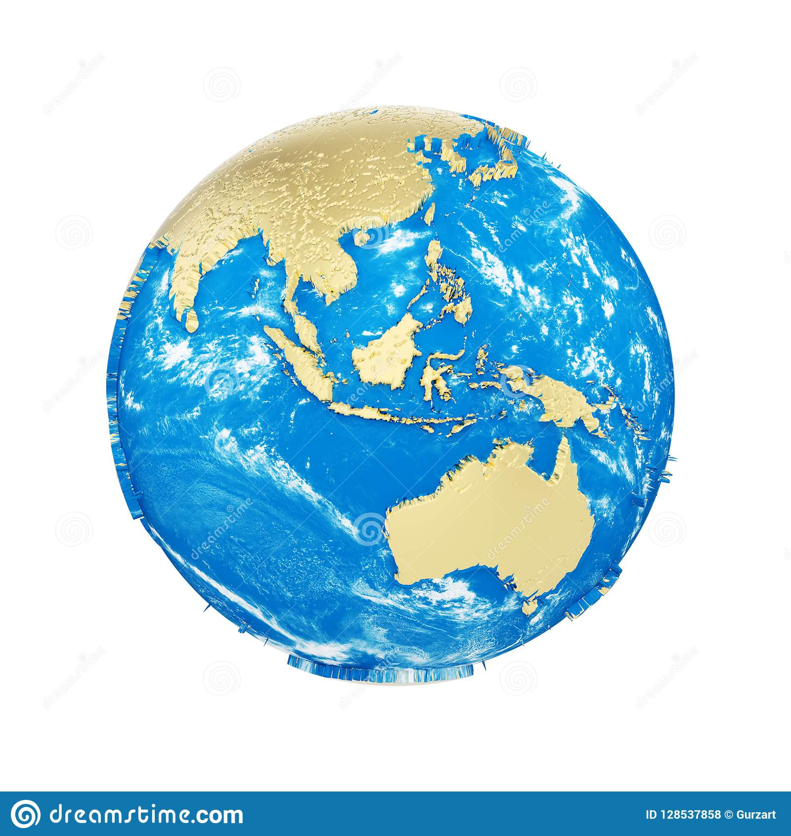 Planet Earth Globe Isolated On White Background Gold