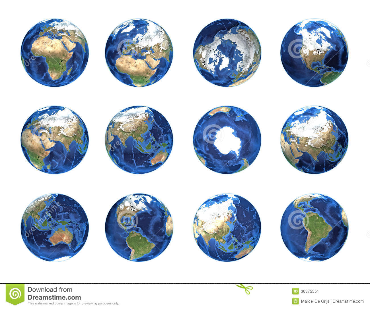 Planet Earth Globe Positions Stock Image
