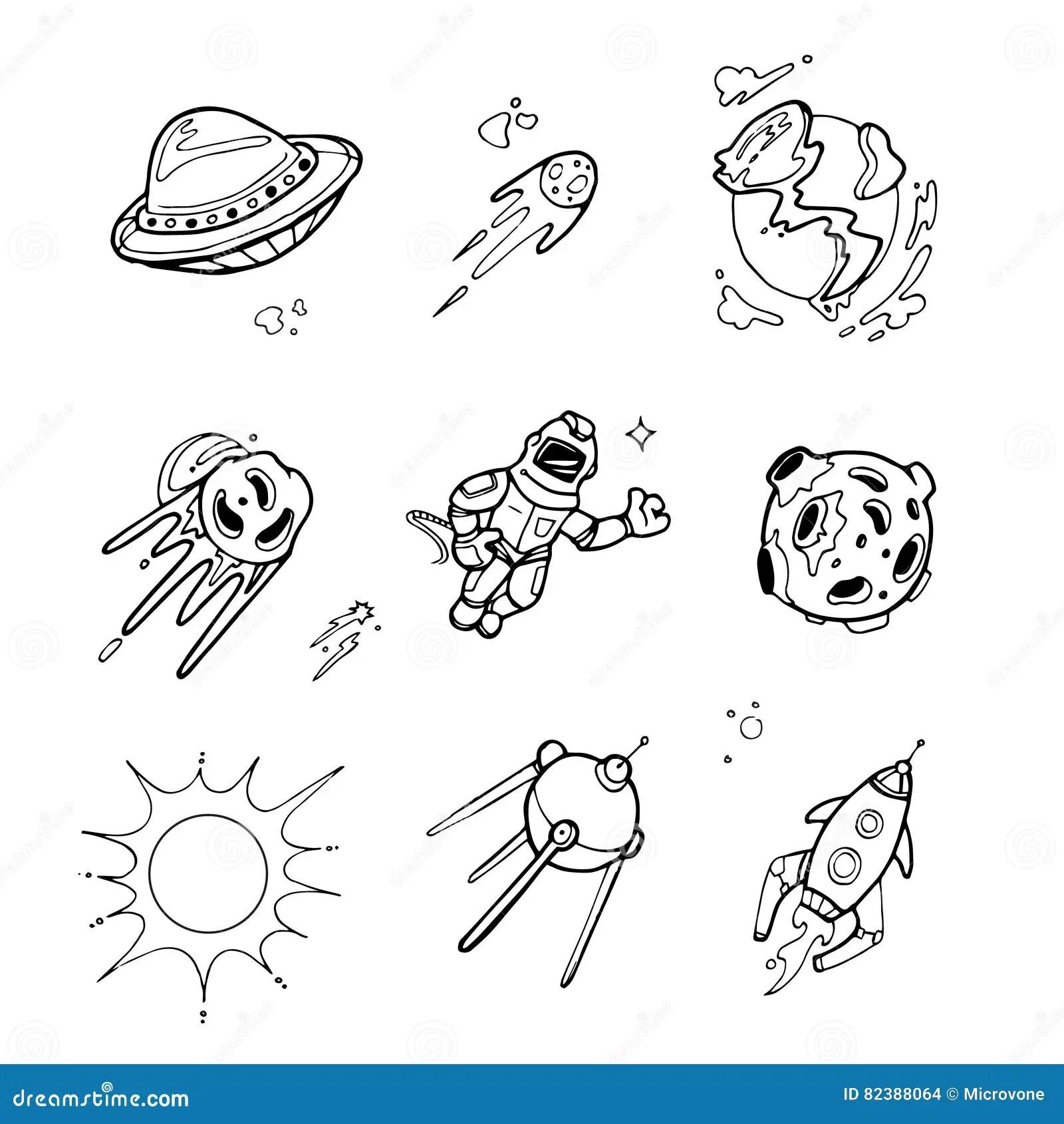 Planets Rockets Spaceships Ufo Stars Astronaut Alien