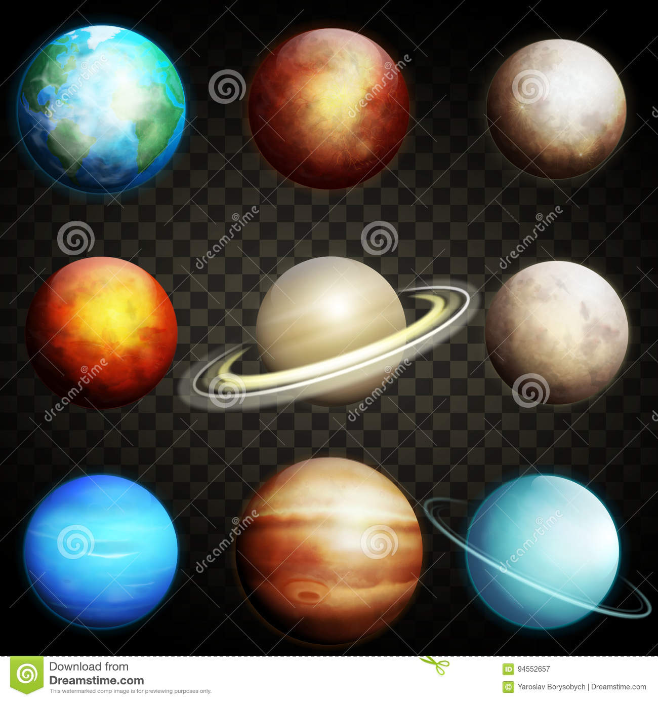 Planets Of The Solar System Isolated On A Transparent