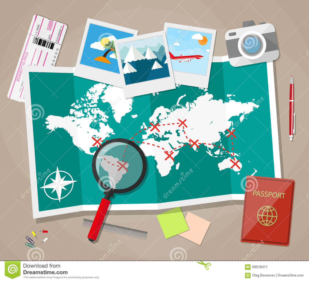 Planning A Vacation Concept Stock Vector