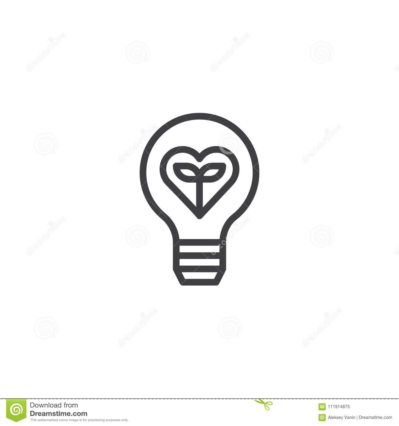 Plant Growing Inside The Light Bulb Outline Icon Stock