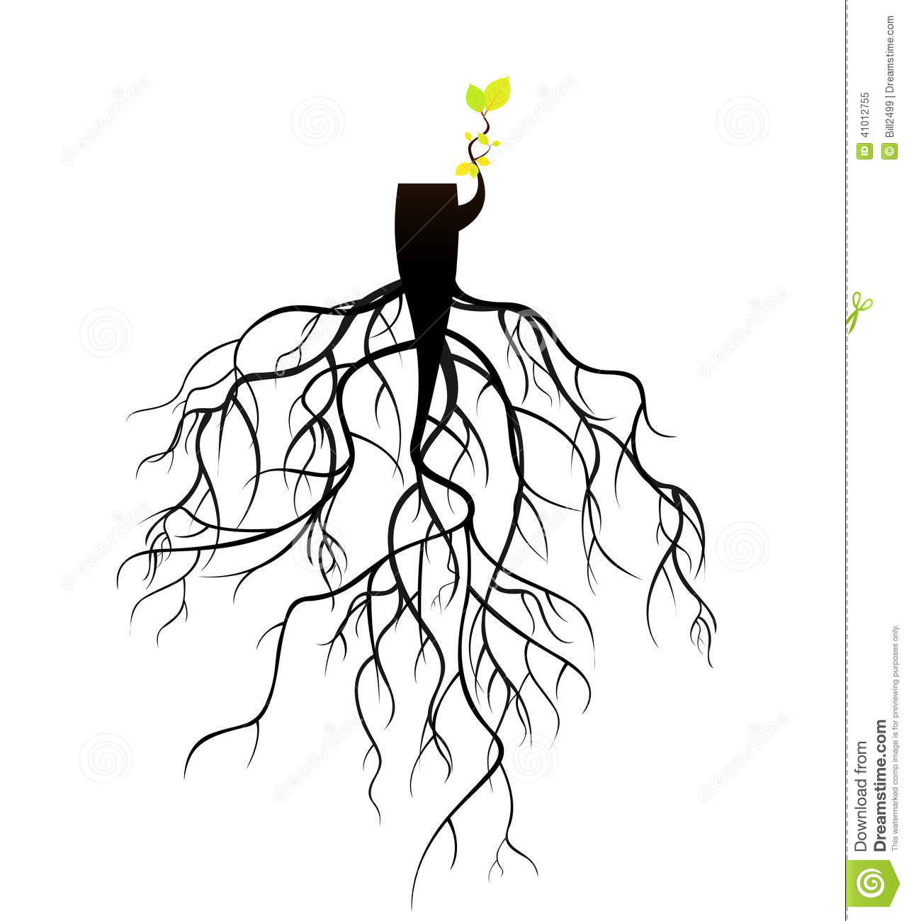 Plant Reborn On Tree Stub Roots Stock Illustration