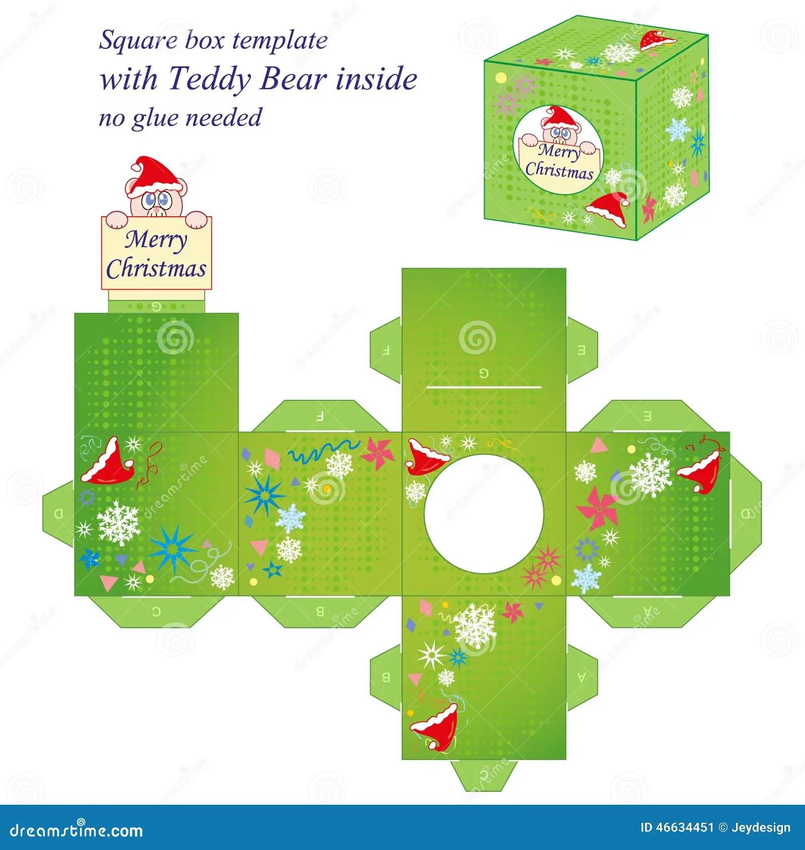 Plantilla Interesante De La Caja De La Navidad Ilustracion