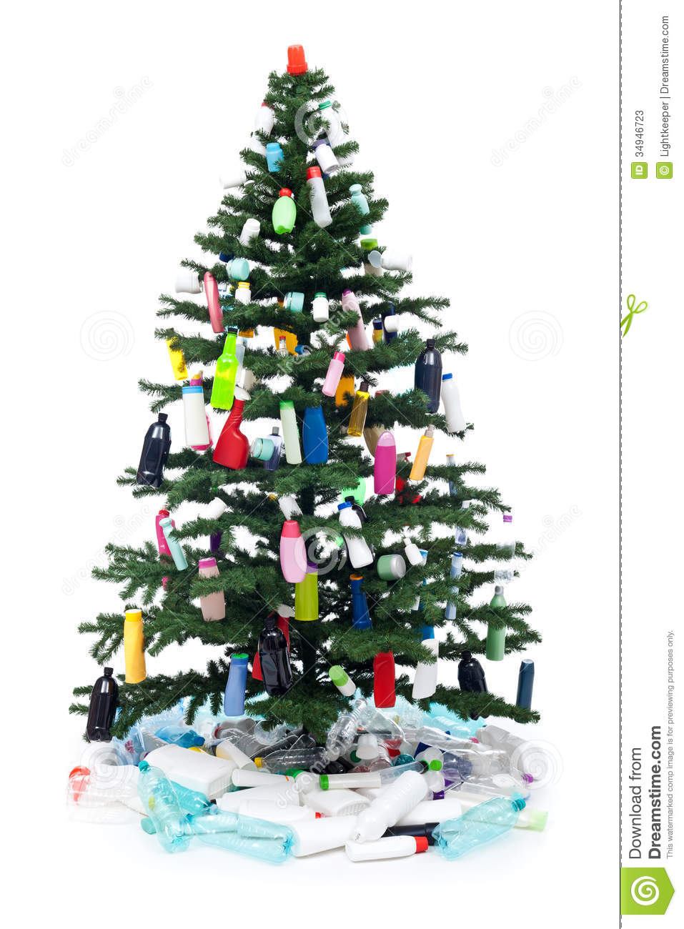 Plastic Bottles Waste Decorating A Christmas Tree Stock