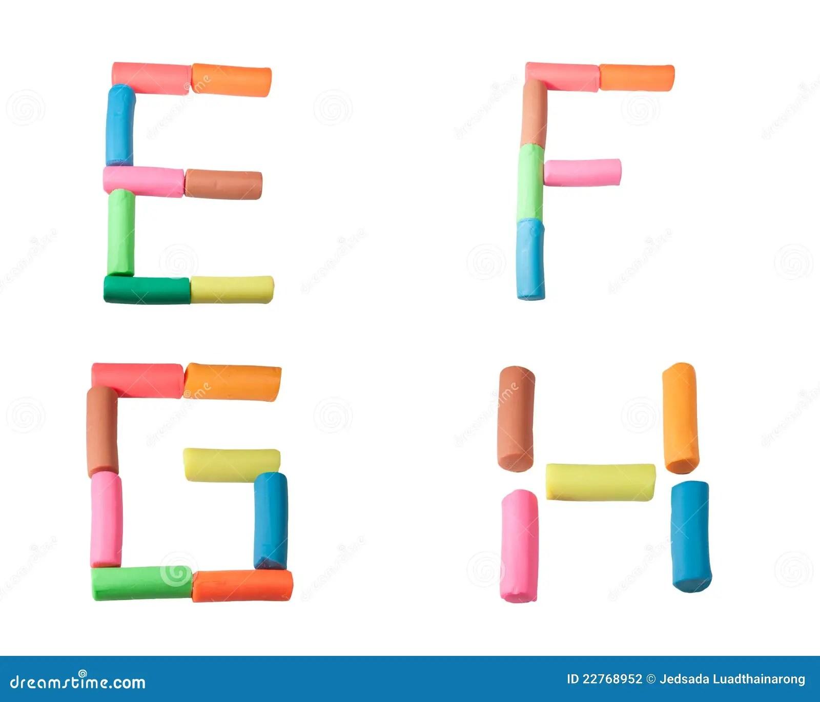 Plasticine Alphabet Letters E F G H Stock Photo