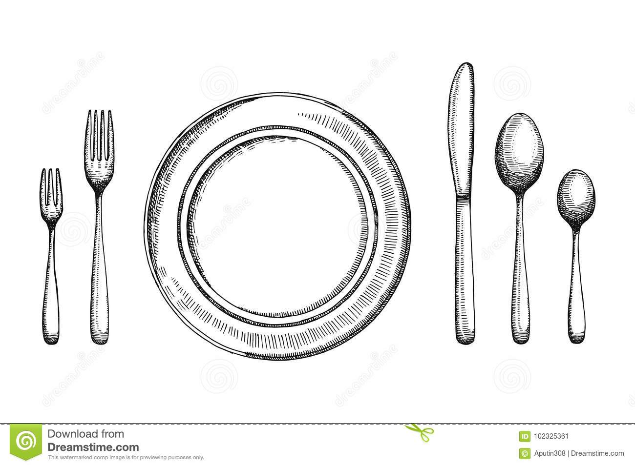 Plate Dining Room With Fork Spoons And Knife Vector Sketch