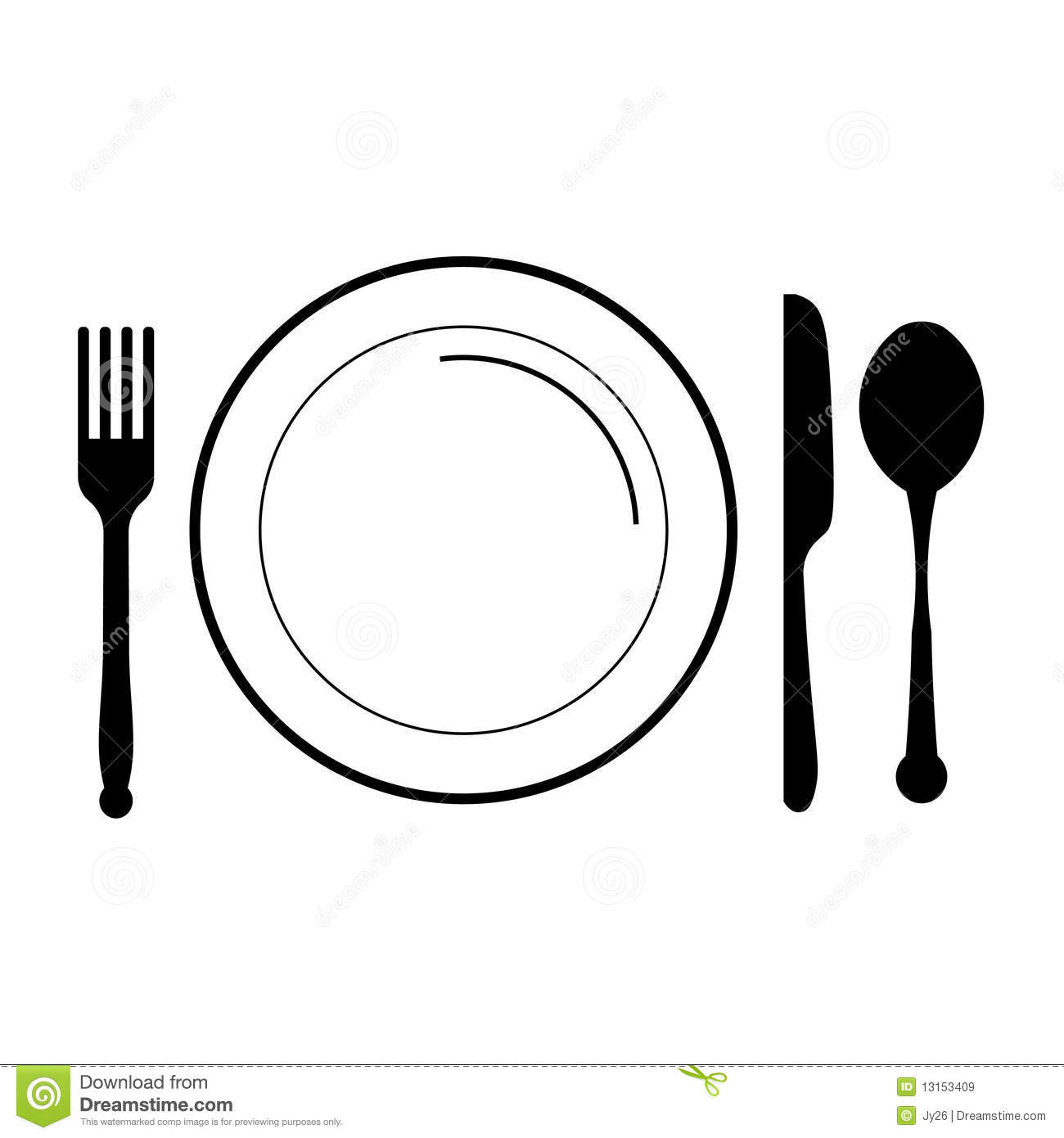 Plate With Fork Knife Spoon Stock Vector
