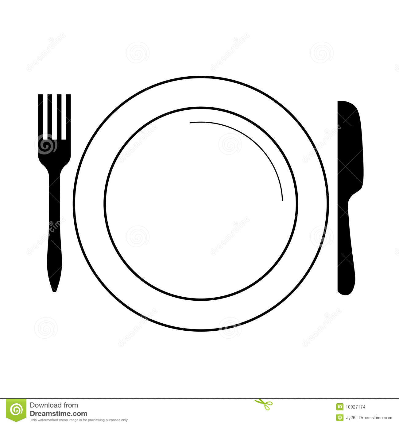 Plate With Fork Knife Vector Stock Vector