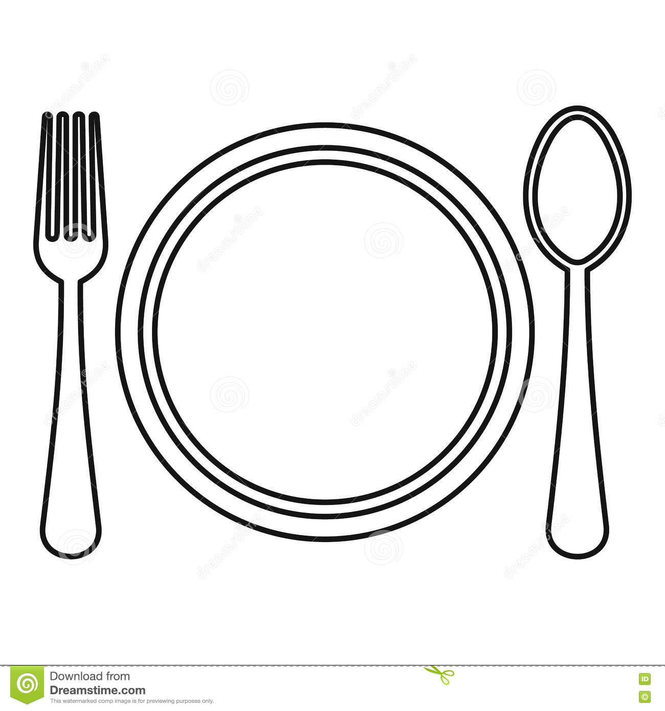 Plate Spoon And Fork Icon Outline Style Stock Vector