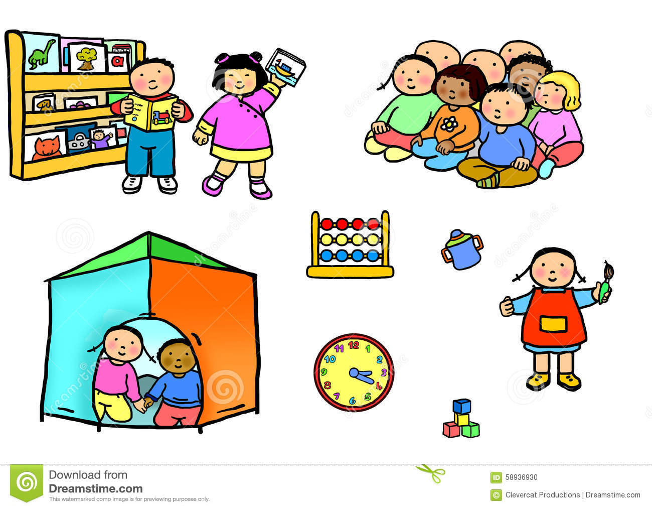 Playgroup Preschool Nursery Daycare Activities Stock