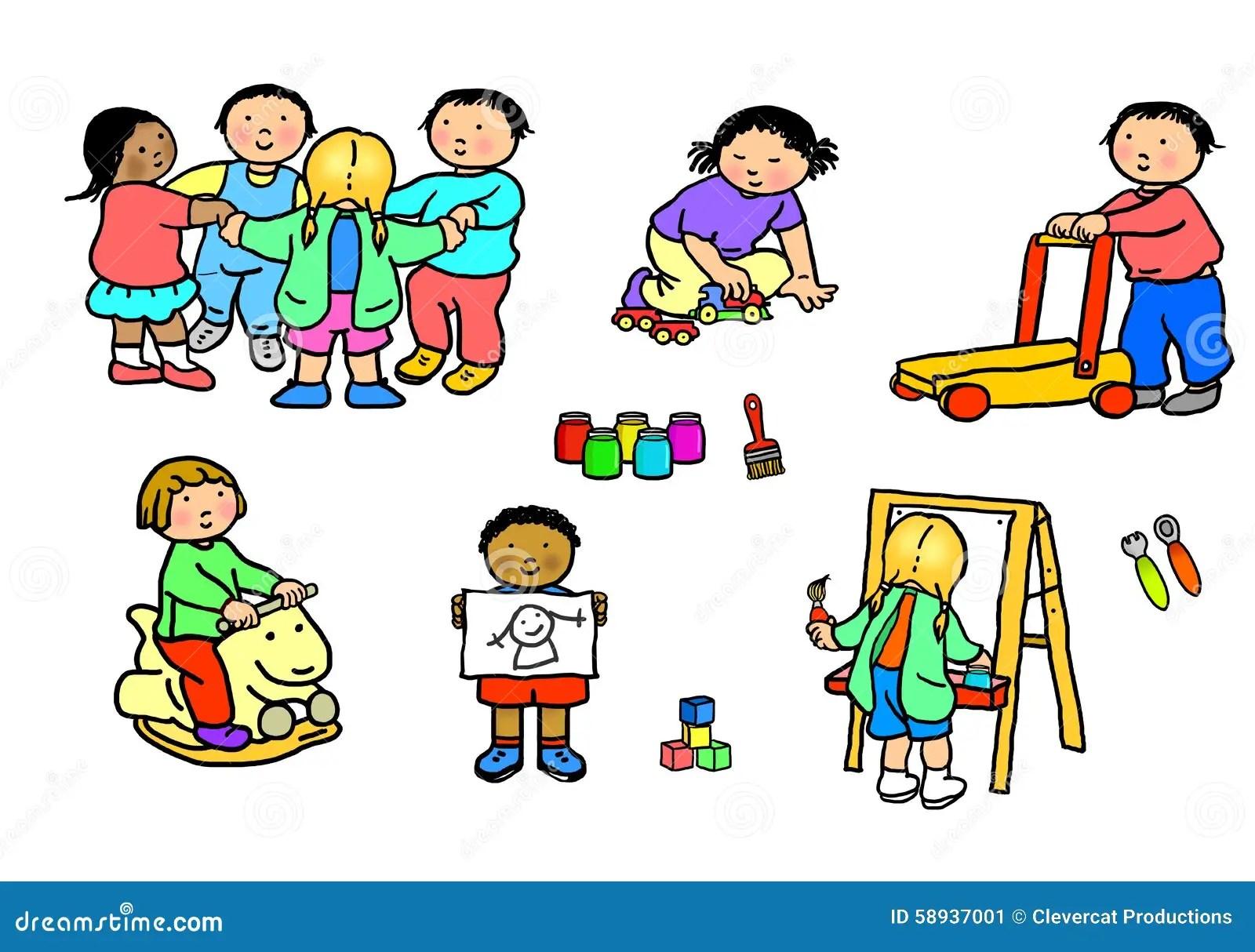 Playgroup Preschool Nursery Daycare Activities Stock
