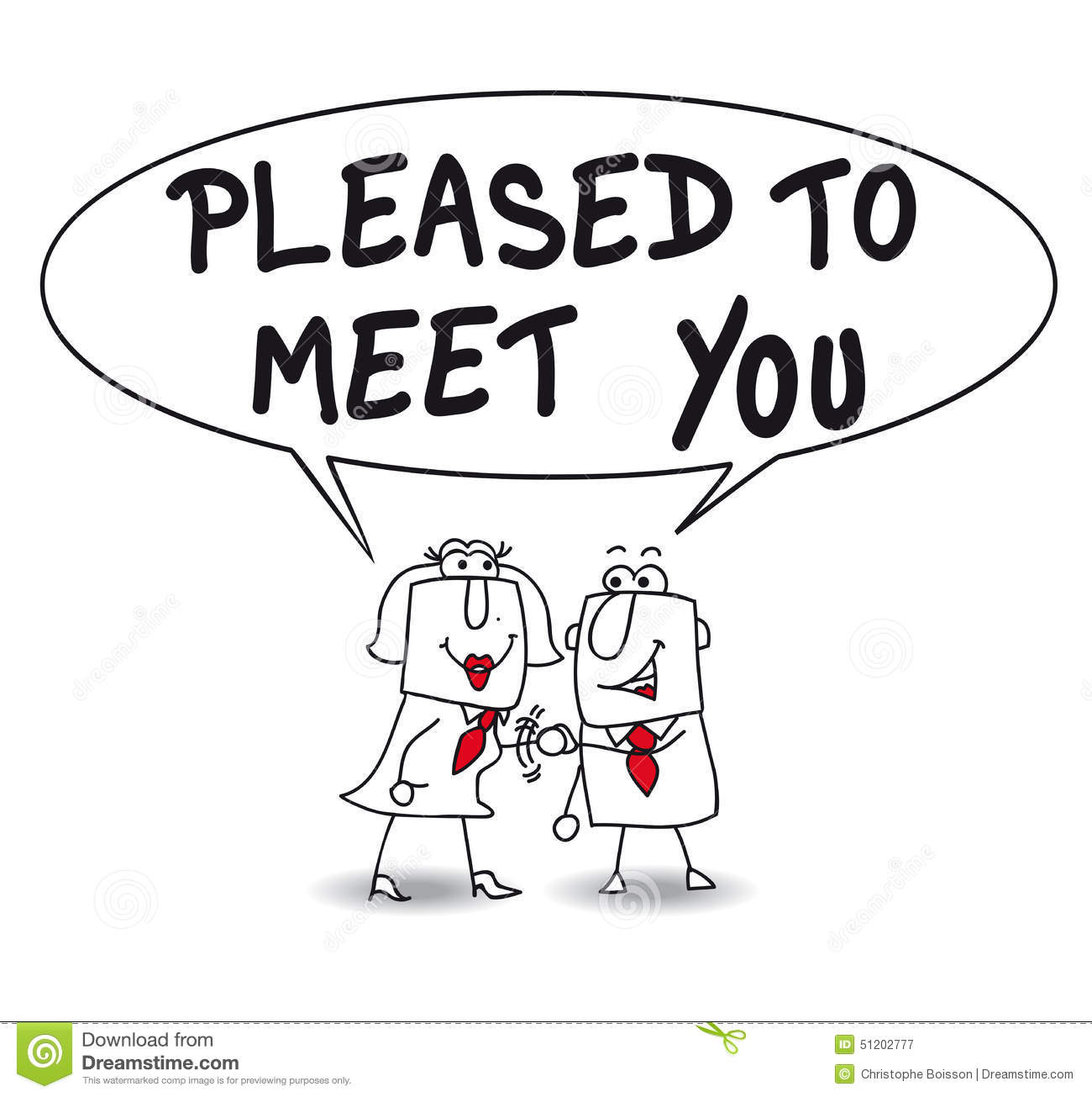 Pleased To Meet You Stock Vector