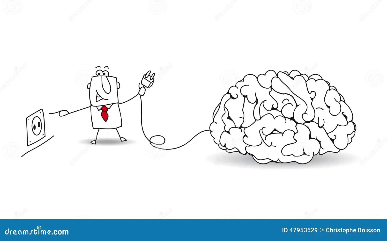 Plug Your Brain Stock Vector Illustration Of Flow