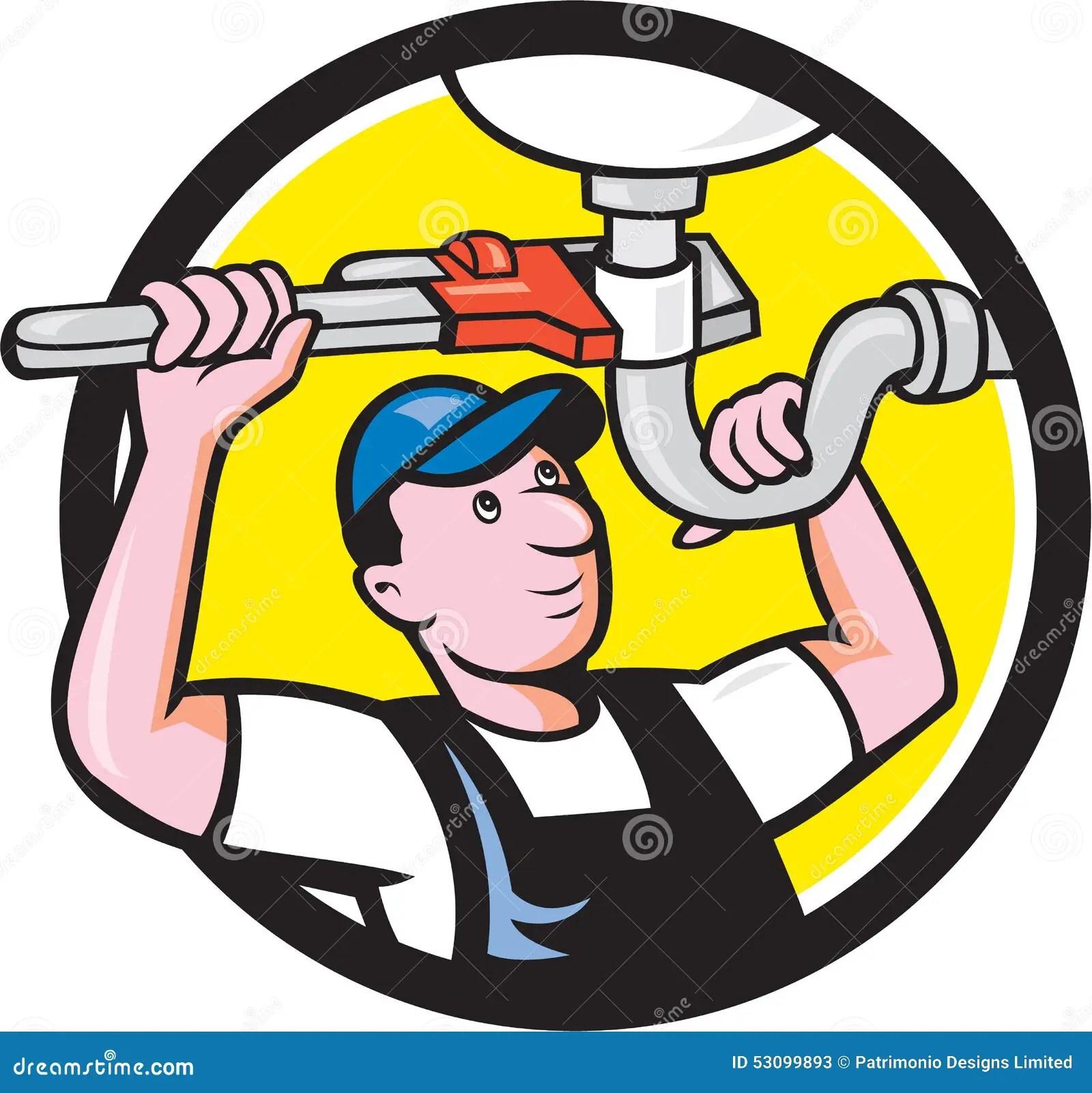 Plumber Repair Sink Pipe Wrench Circle Cartoon Stock ... (1300 x 1319 Pixel)
