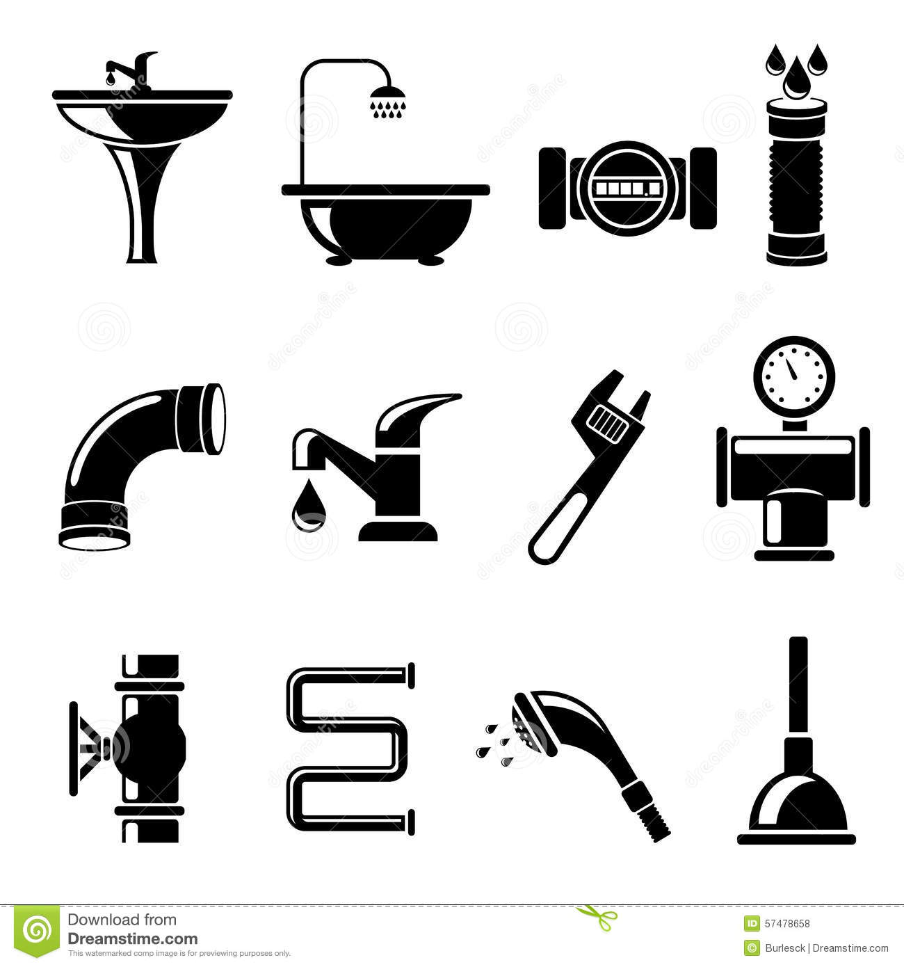 Plumbing Icons Stock Vector