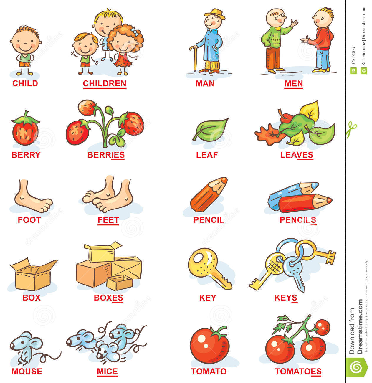 Plural Of Nouns In Colorful Cartoon Pictures Can Be Used As A Teaching Aid For Foreign Language