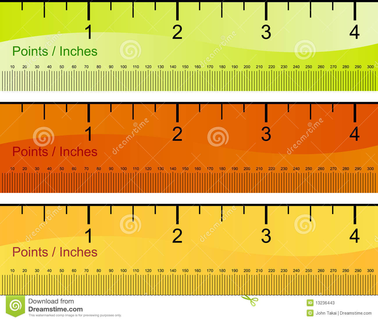 Points Inches Ruler Set Stock Vector Illustration Of Inches