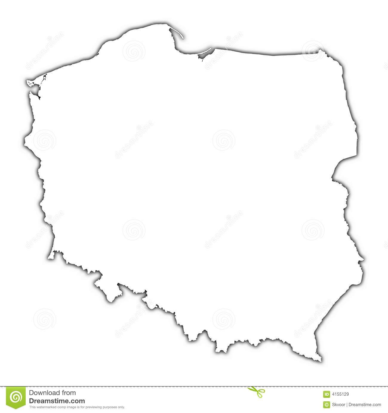 Poland Map With Shadow Stock Illustration Image Of