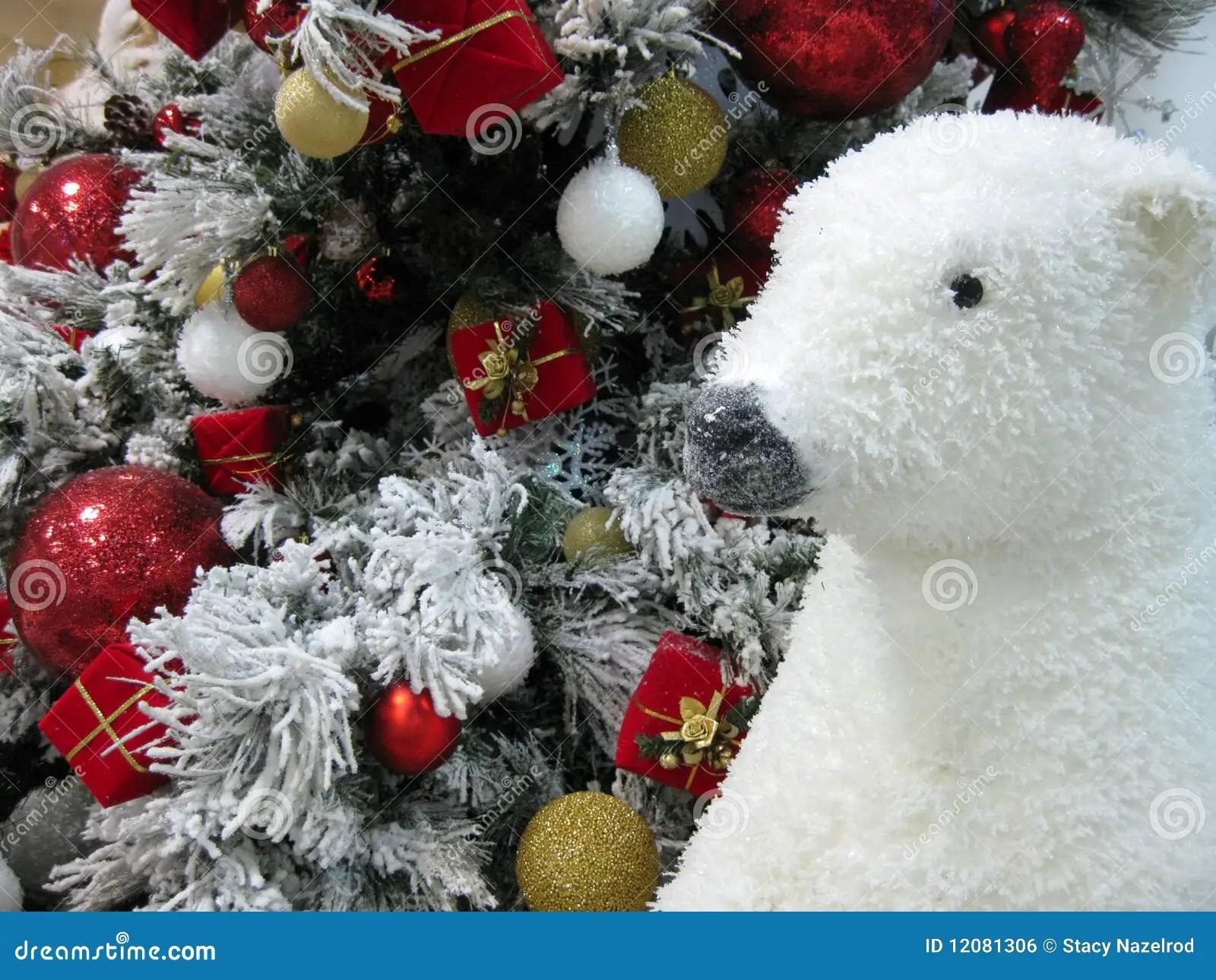 Polar Bear And Christmas Tree Stock Photo Image 12081306