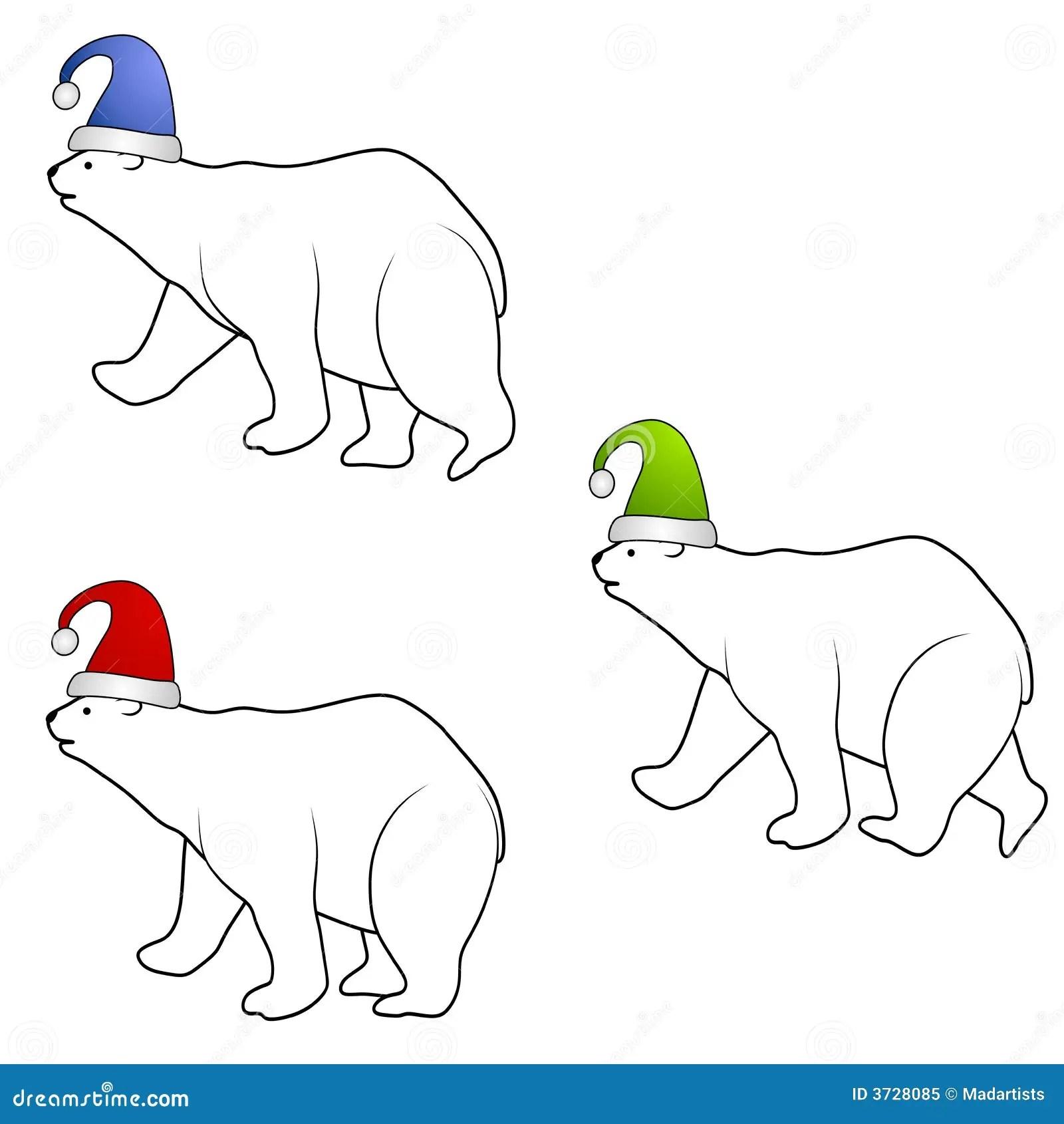 Polar Bears Wearing Santa Hats Royalty Free Stock Photo