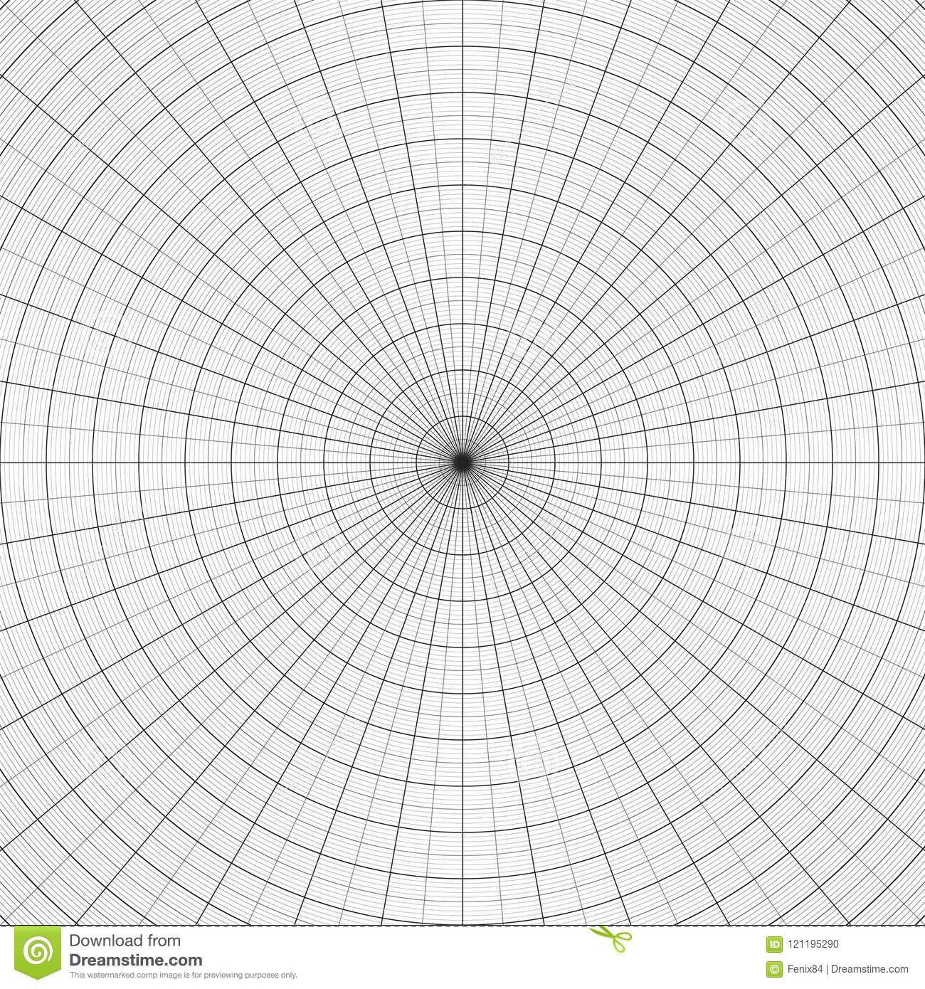 Polar Graph Paper Gray Grid For Polar Graphs Stock