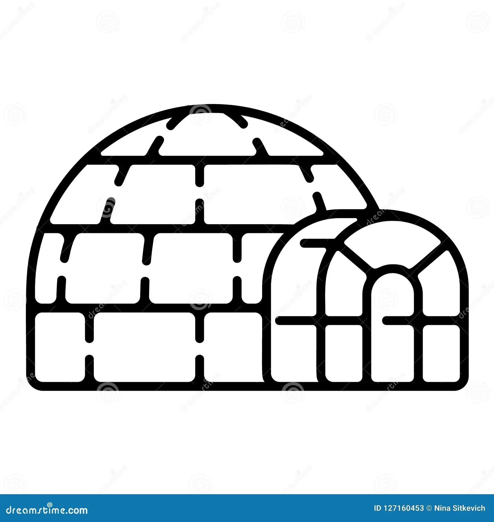 Polar Igloo Icon Outline Style Stock Vector