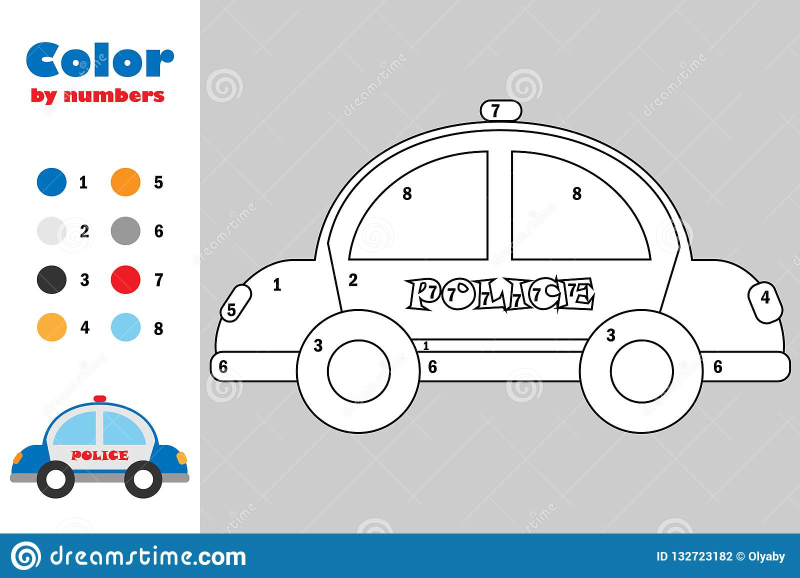 Police Car In Cartoon Style Color By Number Education