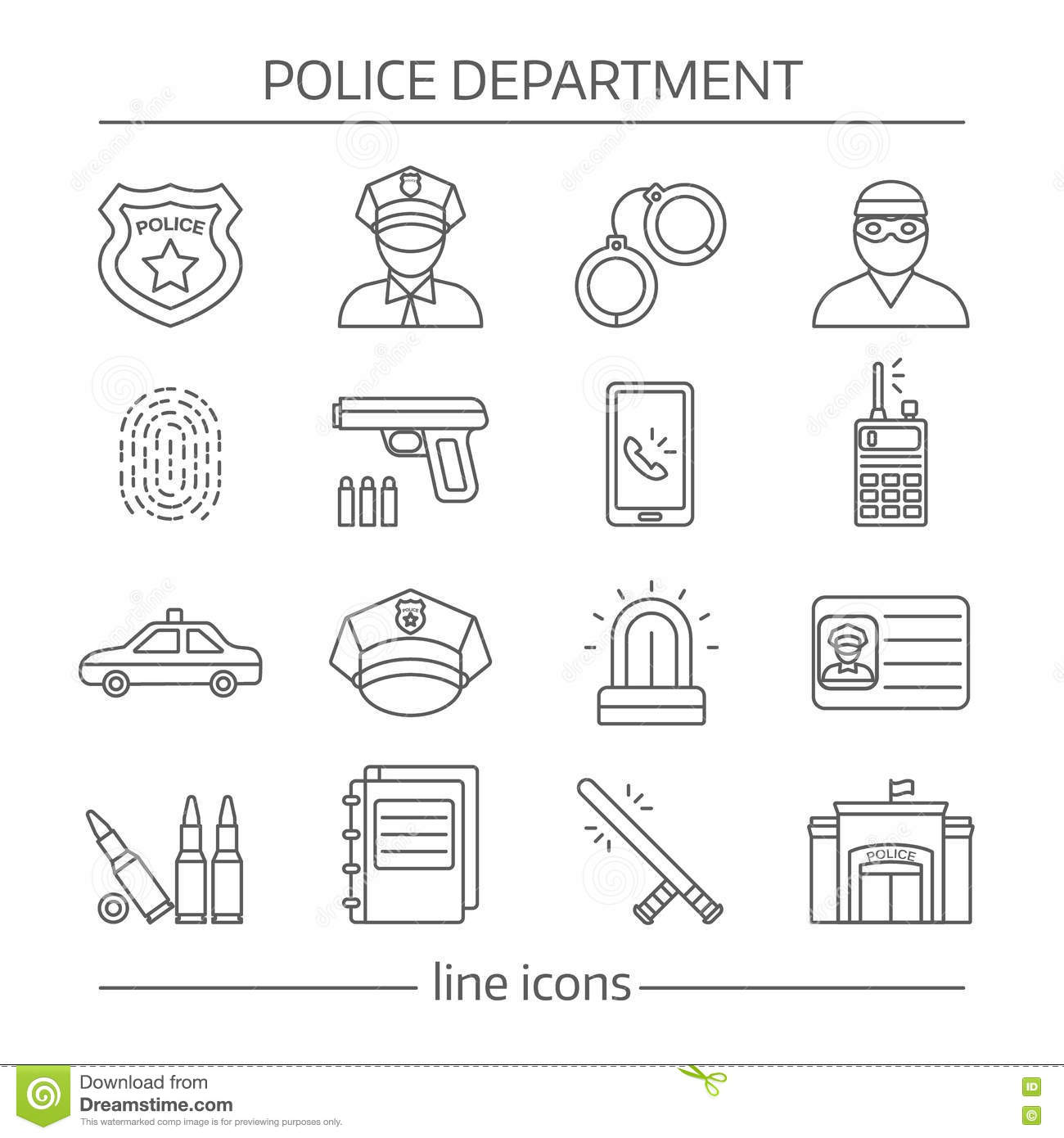 Police Department Linear Icons Set Stock Vector