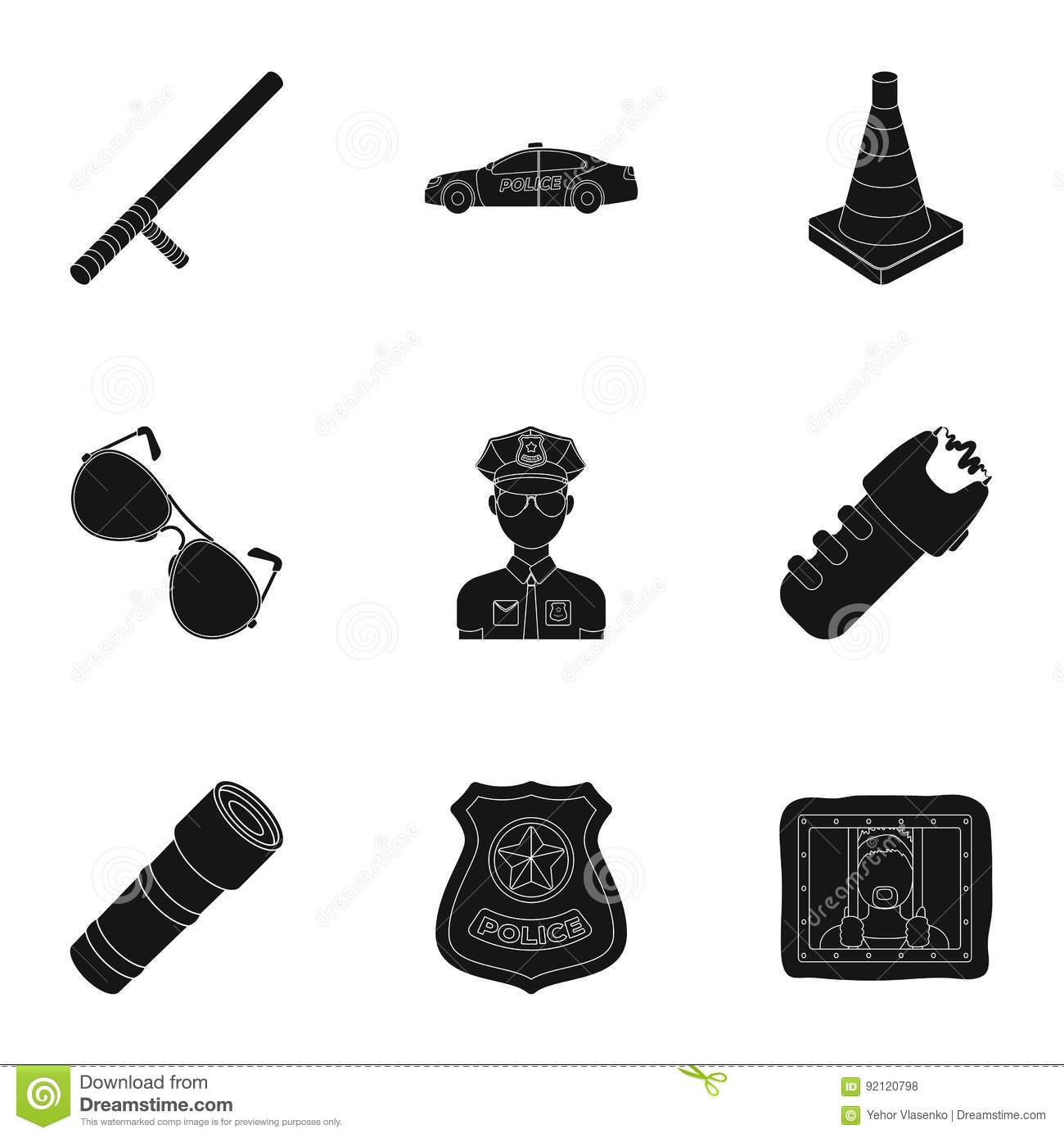 Police Equipment Police Prisoners Protection Of Citizens Police Icon In Set Collection On