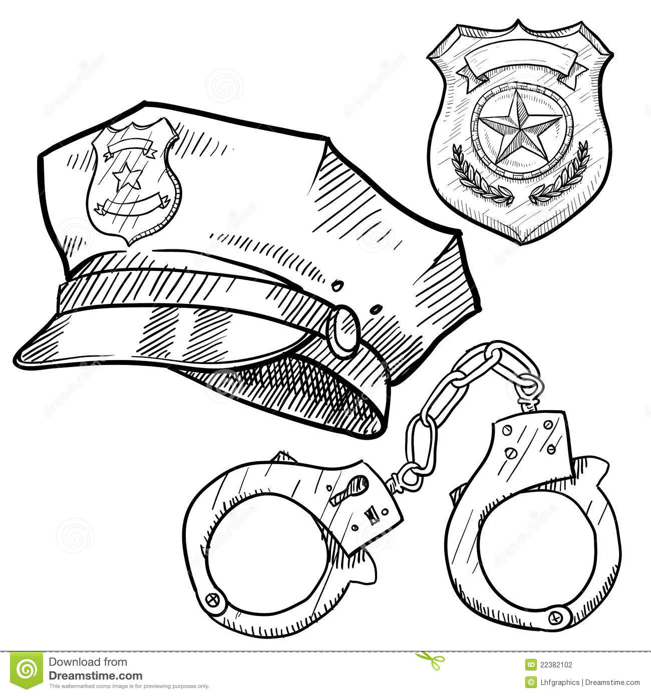 Police Objects Sketch Stock Vector Illustration Of Public