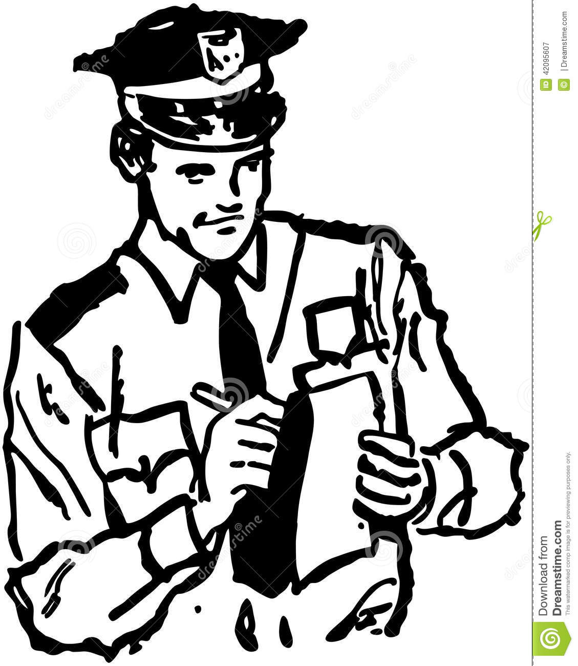 Policeman Writing Ticket Stock Vector Illustration Of People