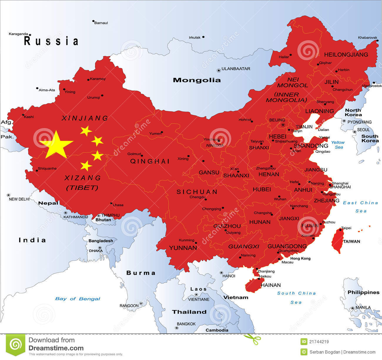 Political Map Of China Stock Vector Illustration Of