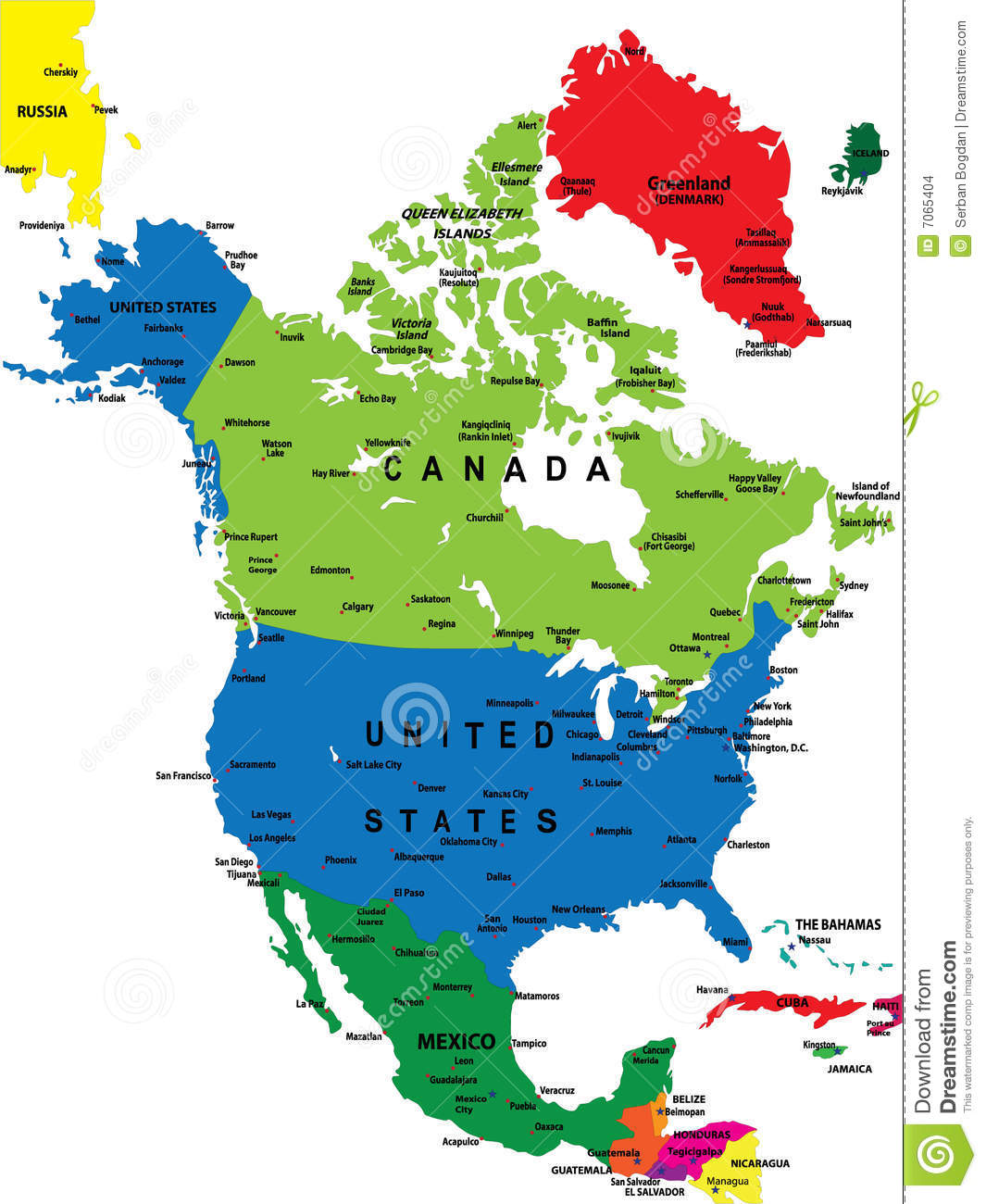 Political Map Of North America Stock Vector