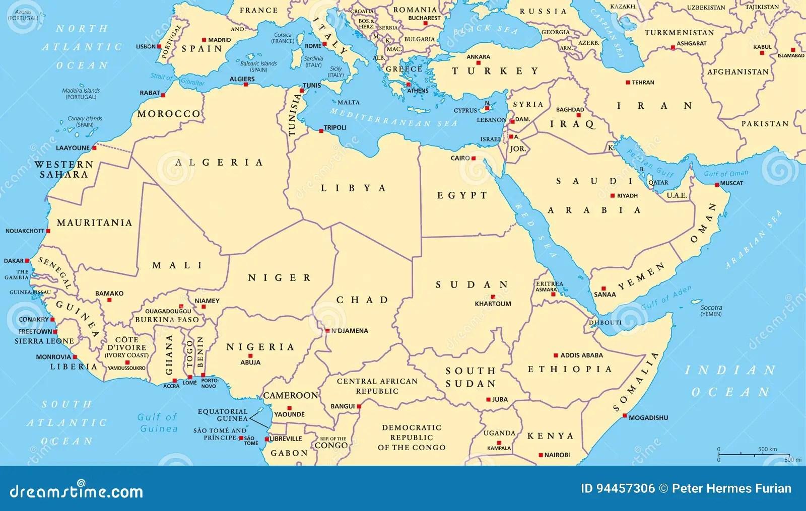Politische Karte Nord Afrikas Und Des Mittlere Ostens
