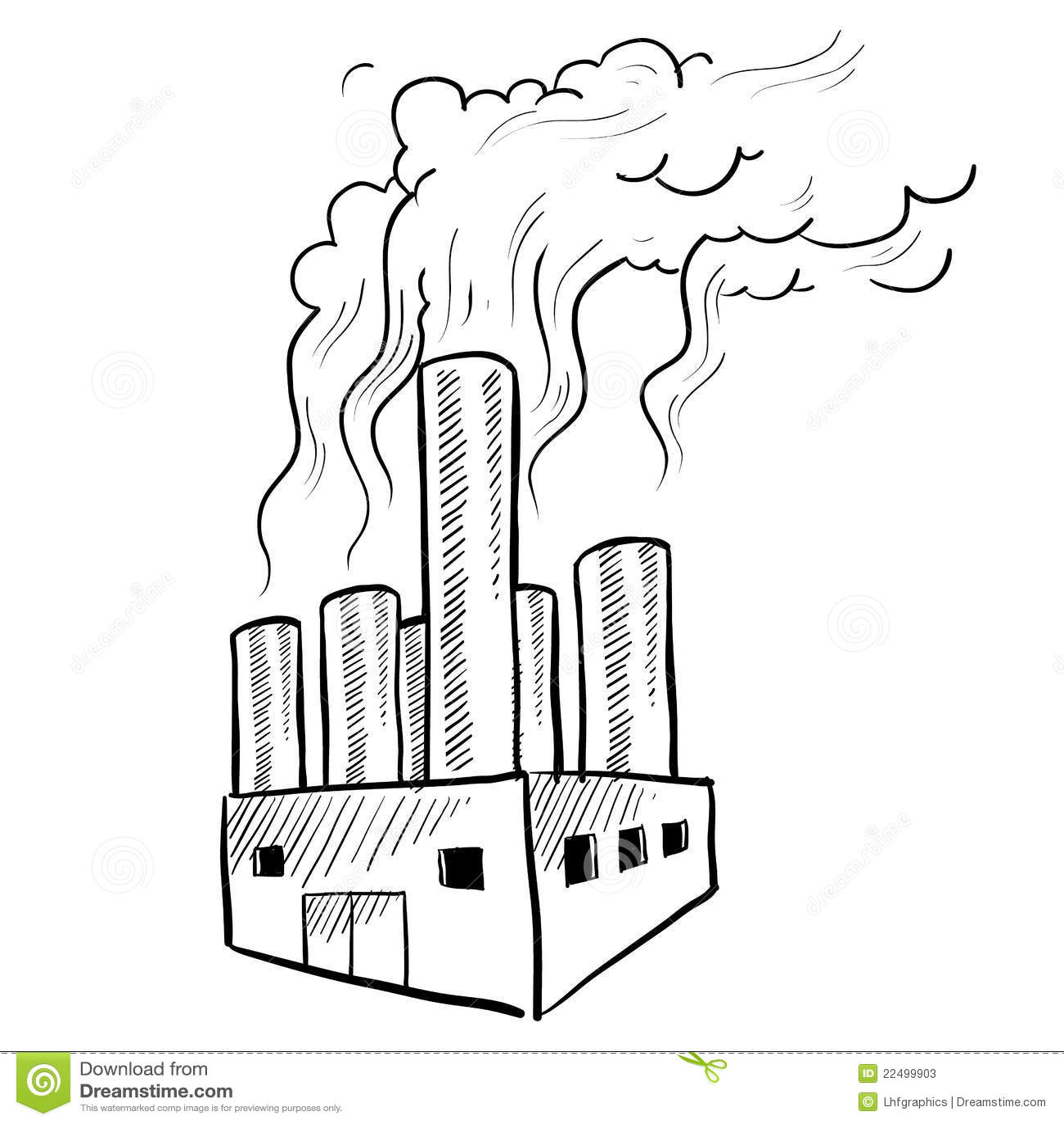 Polluting Factory Sketch Stock Vector Image Of Warming