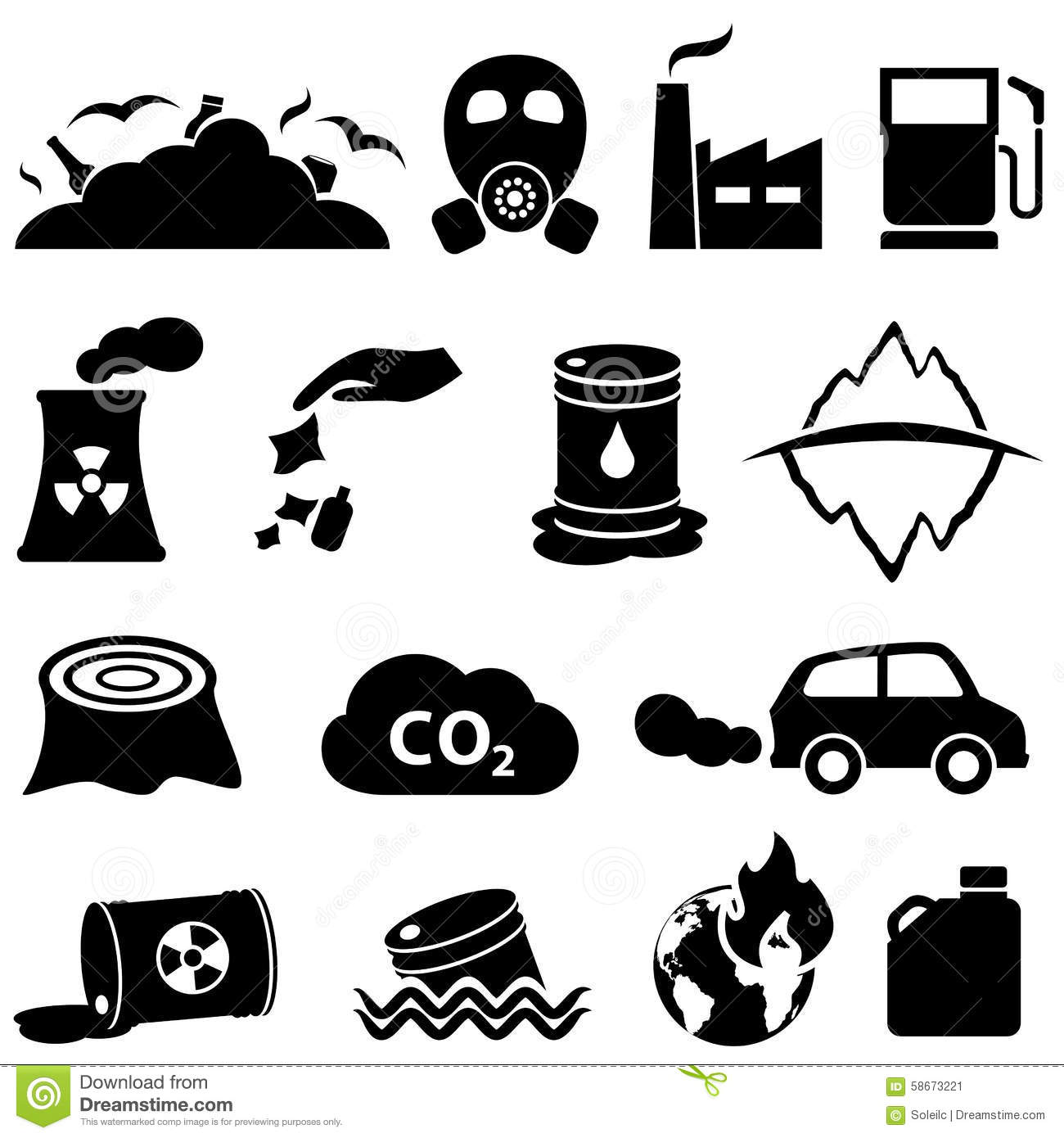 Pollution And Environment Icons Stock Vector